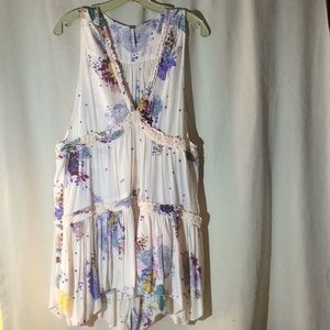 Free people cream with pastel flowers top